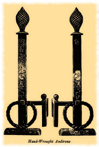 wrought iron hand forged andirons