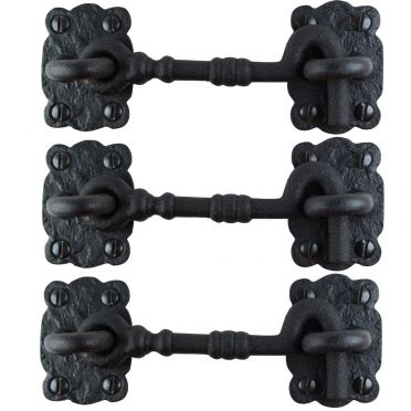 Wrought Iron Cabin Hooks 4-1/4 Inch Set of 3