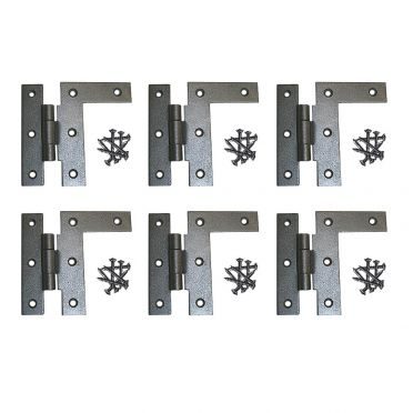Wrought Iron H-L Cabinet Hinges 3-1/2 Inch H with 3/8 Offset Left Set of 6