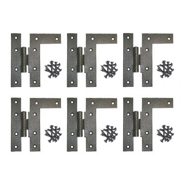 Wrought Iron H-L Cabinet Hinges 4-1/2 Inch H with 3/8 Offset Left Set of 6