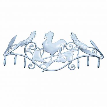 Wrought Iron White Rooster Multi 6 Hook Rack 12 Inch