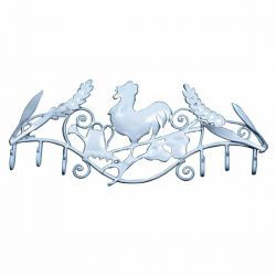 White Rooster Multi 6 Hook Rack 12 Inch