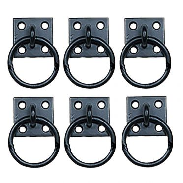 Wrought Iron Cabinet Hardware Ring Pulls 2 Inch Set of 6