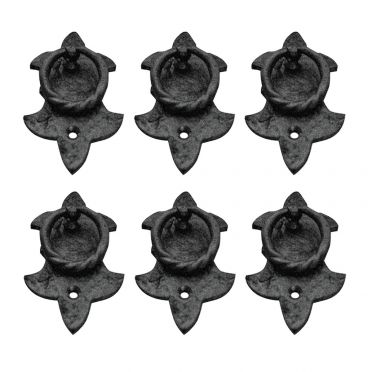 6 Black Wrought Iron Fleur de Lis Ring Pulls 3-3/4 inches H