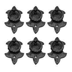 6 Black  Fleur de Lis Ring Pulls 3-3/4 inches H