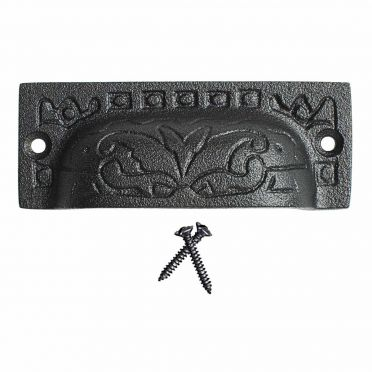 Wrought Iron Vine Bin Pull 3-1/2 Inch