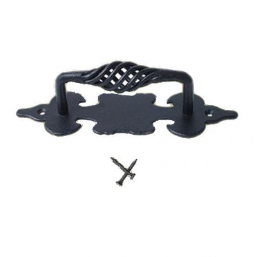 Wrought Iron Birdcage Cabinet Pull with Backplate 6 Inch