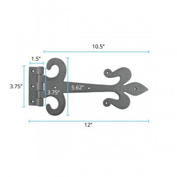 black wrought iron strap gate hinge fleur de lis 12 inch alt