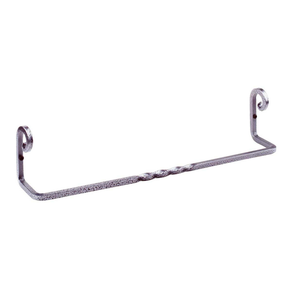Wrought Iron Towel Bar 18 Inch Silver Pigtail