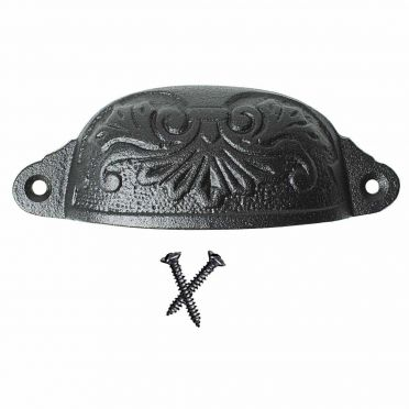 Wrought Iron Scrolled Fan Cabinet Cup Pull 4-1/2 Inch W