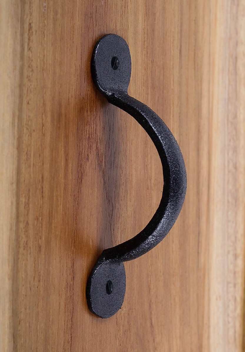 Wrought Iron Rustic Bean Door or Drawer Pull 3-3/4 Inch