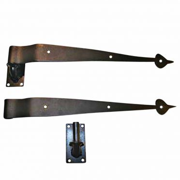 Wrought Iron Spear Offset Pintle Strap Hinges 15 Inch Pair