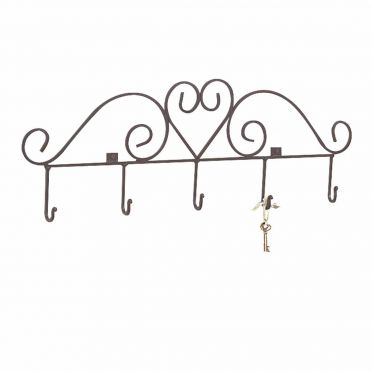 Wrought Iron Heart Hook Key Rack 31-1/4 Inch W