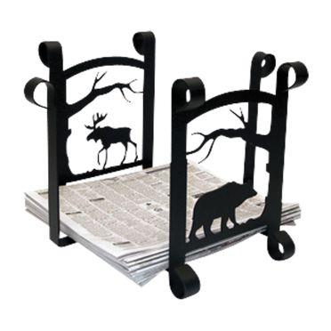 Wrought Iron Moose & Bear - Newspaper Recycle Bin | 11 inch
