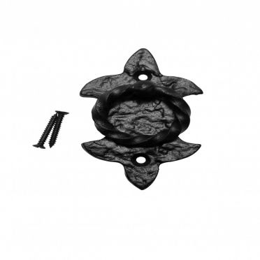Wrought Iron Fleur de Lis Cabinet Ring Pull 3-3/4 Inch