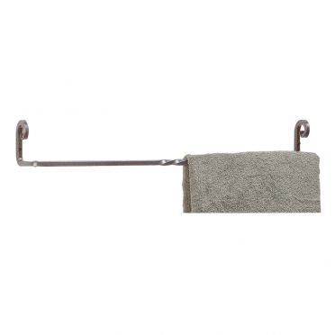 Wrought Iron Towel Bar 24 Inch | Silver Pigtail