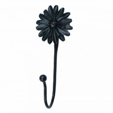 Wrought Iron Single Hook Black Zinnia 7 Inch