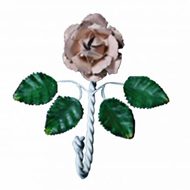 Wrought Iron Single Hook Multi Colored Rose 7-1/2 Inch