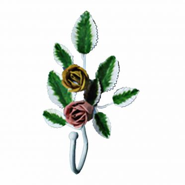 Wrought Iron Single Hook Multi Colored Rose 8-1/2 Inch