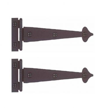 Wrought Iron Flush Mount Spear Strap Hinges 7-3/8 Inch Pair