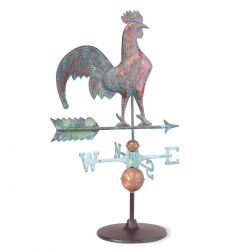 Rooster Weathervane on Garden Stand | Full-bodied Verdigris Copper