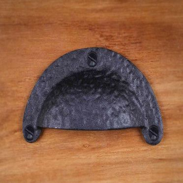 Wrought Iron Rustic Cabinet Cup Pull | Hammered