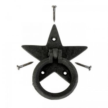 Wrought Iron Cabinet Drawer Ring Pull Star Design