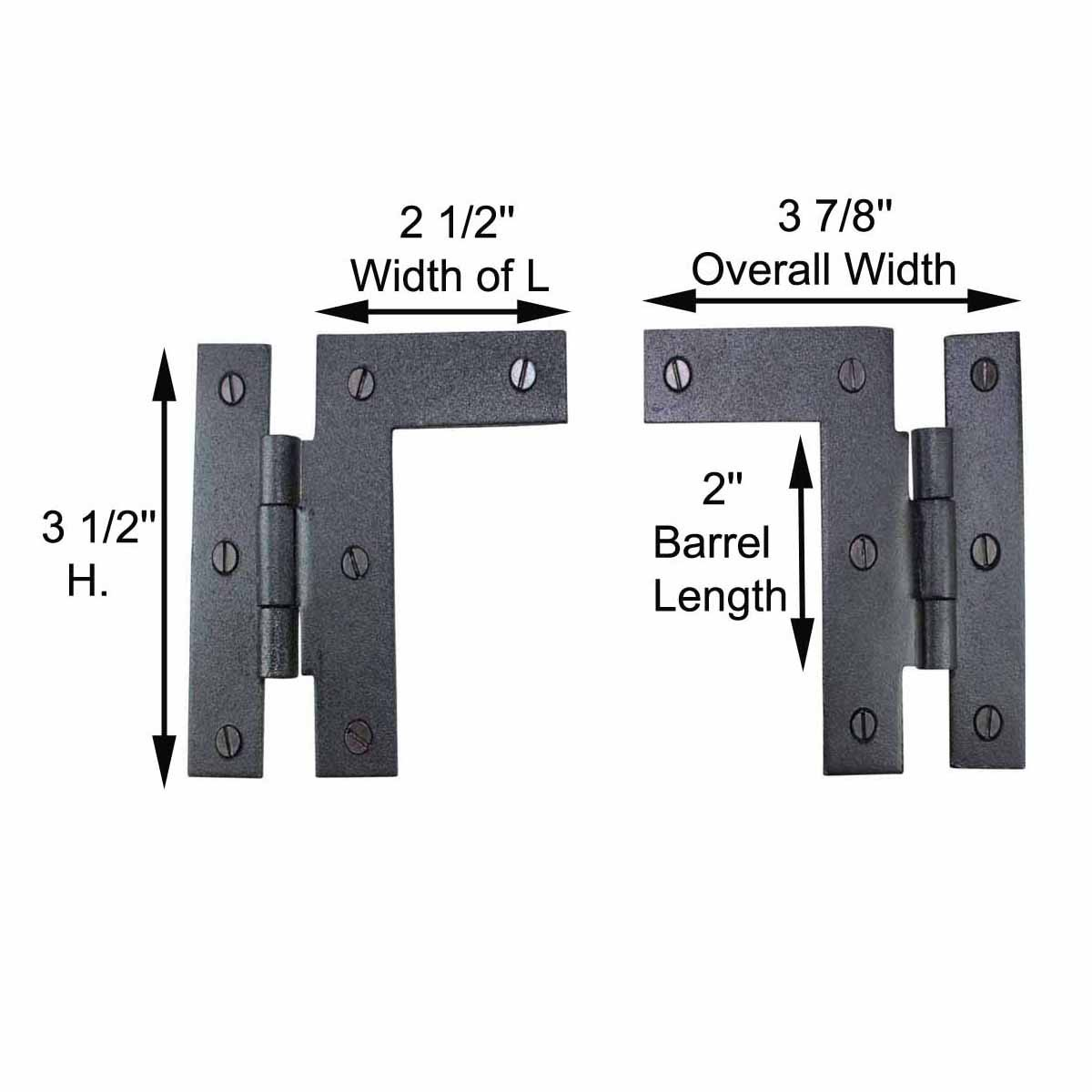Wrought Iron Cabinet Hinge 3 1/2 Inch H-L Pair Left and ...