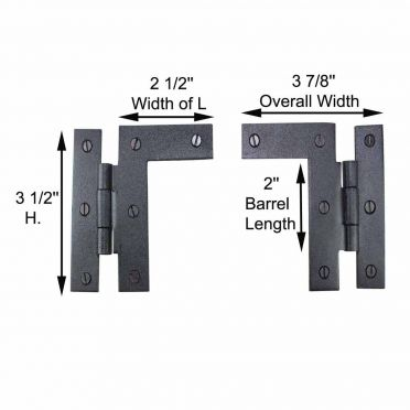 Wrought Iron Cabinet Hinge 3 1/2 Inch H-L Pair Left and Right, 3/8 Inch Offset