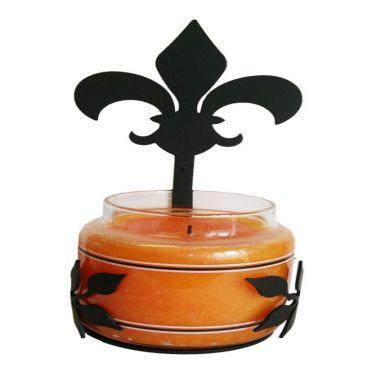 Wrought Iron Candle Jar Holder Sconce Fleur-de-lis