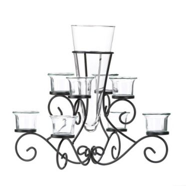 Wrought Iron Candle Holder Scrolled Stand with Glass Vase