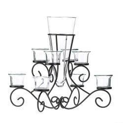 Candle Holder Scrolled Stand with Glass Vase