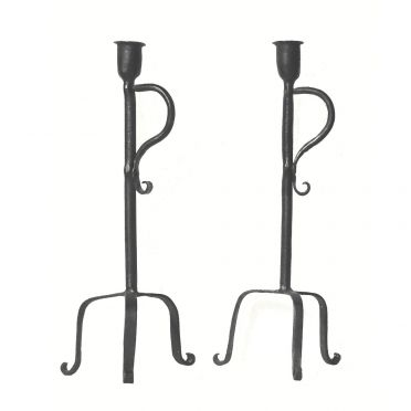 Wrought Iron Candlesticks | Colonial Style | Pair