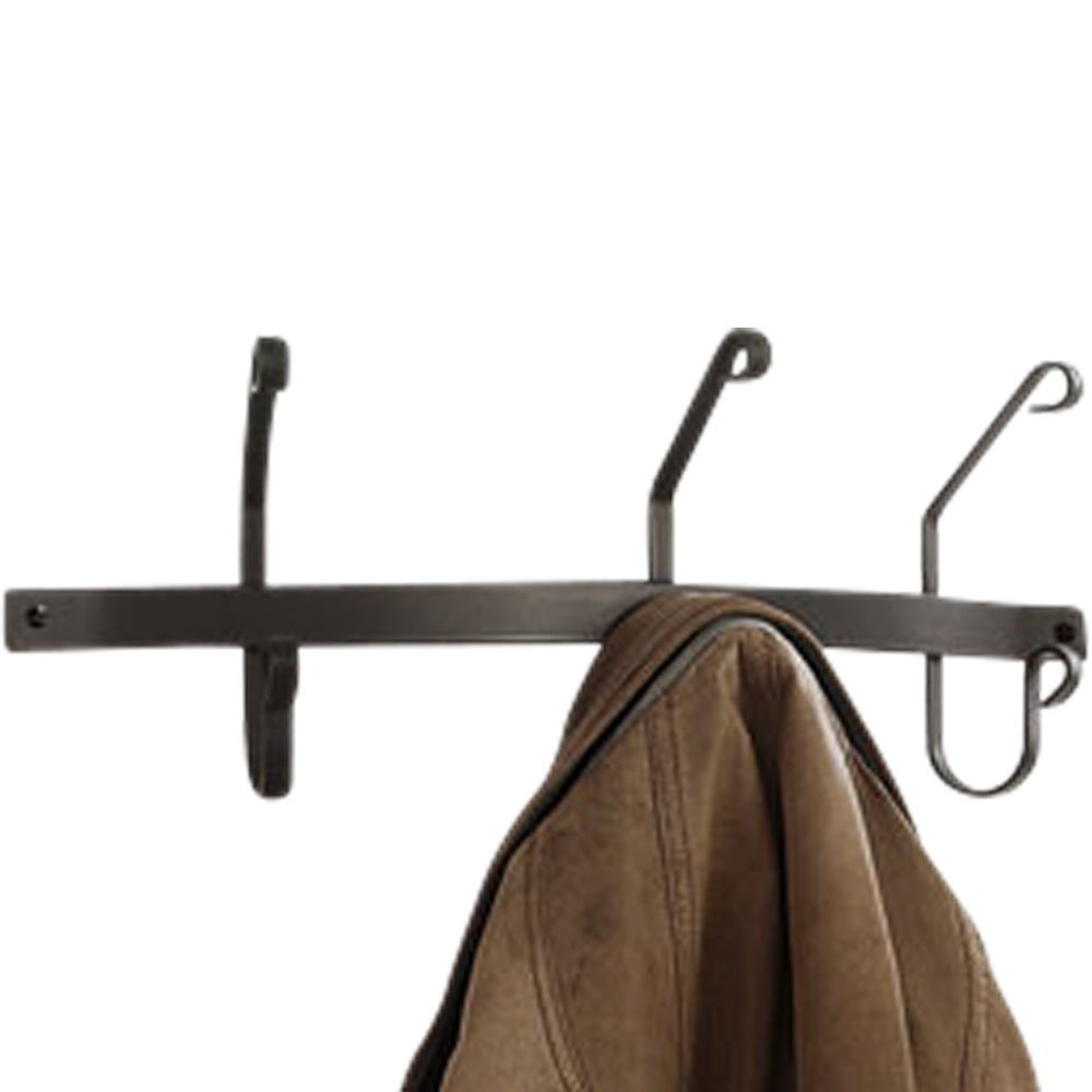 Wrought iron coat rack wall mounted double sided 3 hook design - How to make a wall mounted coat rack ...