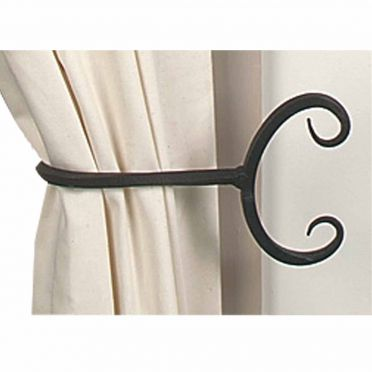 Wrought Iron Curtain Tiebacks | Backwards Scroll | Pair