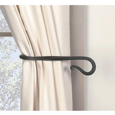 Wrought Iron Curtain Tiebacks | Twisted Hook | Pair