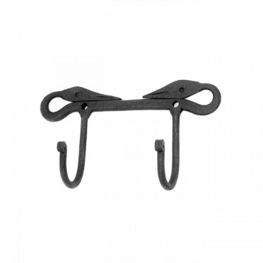 Wrought Iron Double Coat Hook Swan Design