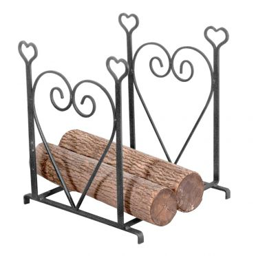 Wrought Iron Fireplace Log Holder | Heart
