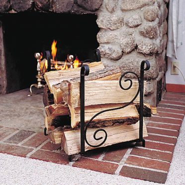 Wrought Iron Fireplace Log Holder | Scroll