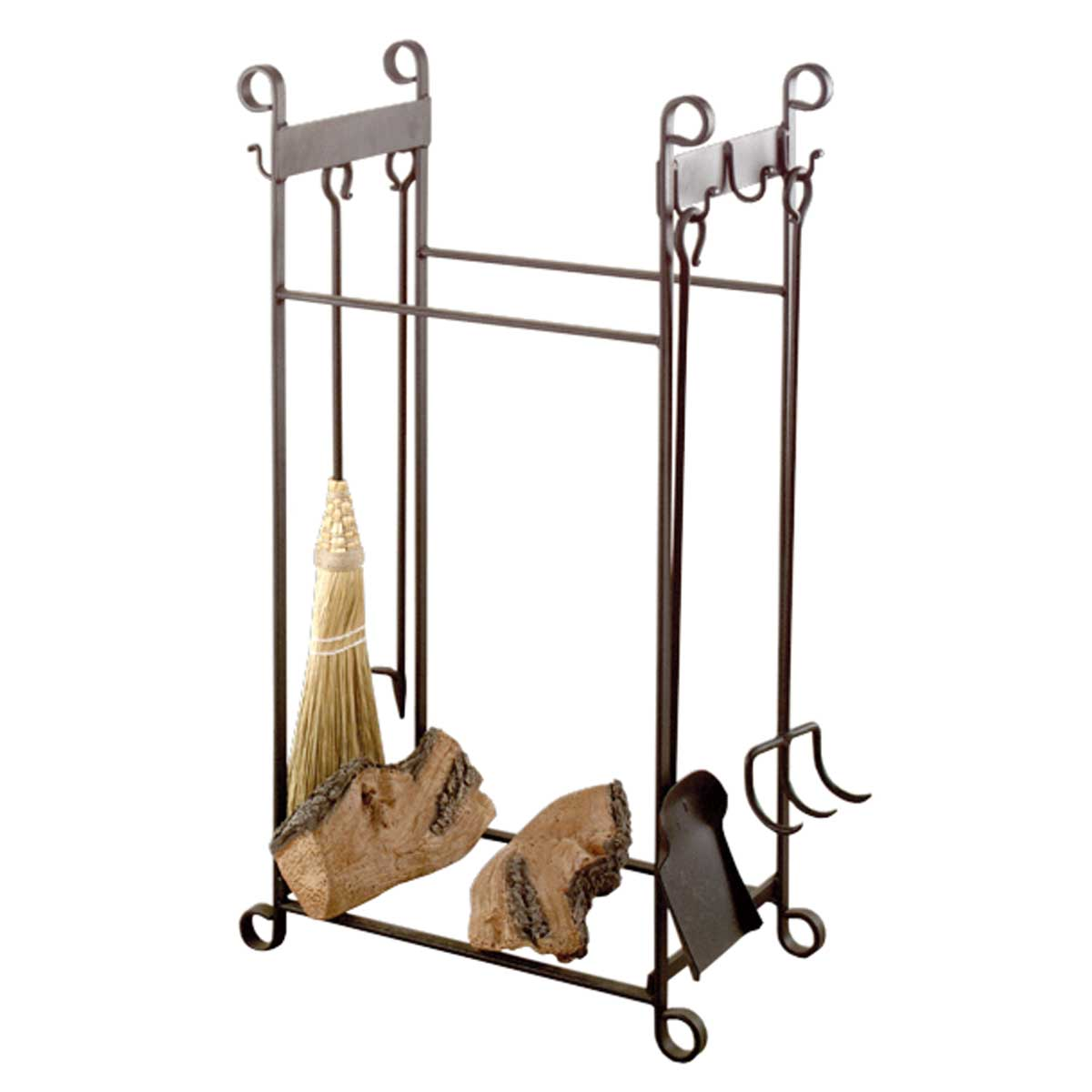 Wrought Iron combination fireplace tool set and log stand. Measures 36 inches H x 20-1/4 W x 12 inches in depth.	Hand-forged from rugged wrought iron	Crafted for years of enduring ...