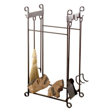Wrought Iron Fireplace Tools & Log Holder