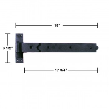 wrought iron gate hinge black strap 18 inch alt