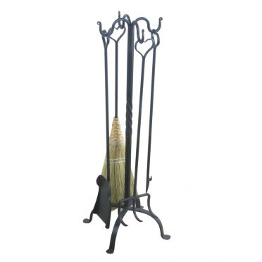 Wrought Iron Heart Fireplace Tool Set