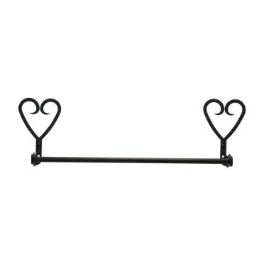 Wrought Iron Towel Bar 18 Inches | Heart