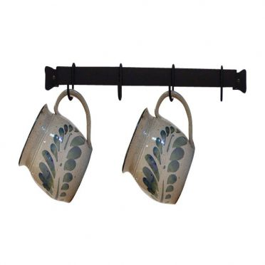 Wrought Iron Mug Rack | Wall-Mounted | 16 inches with 4 Cup Hooks