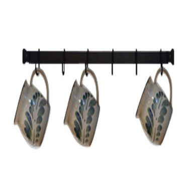 Wrought Iron Mug Rack | Wall-Mounted | 24 inches with 6 Cup Hooks