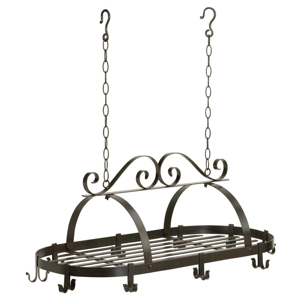 Wrought Iron Oval Pot Rack Hanging Kitchen