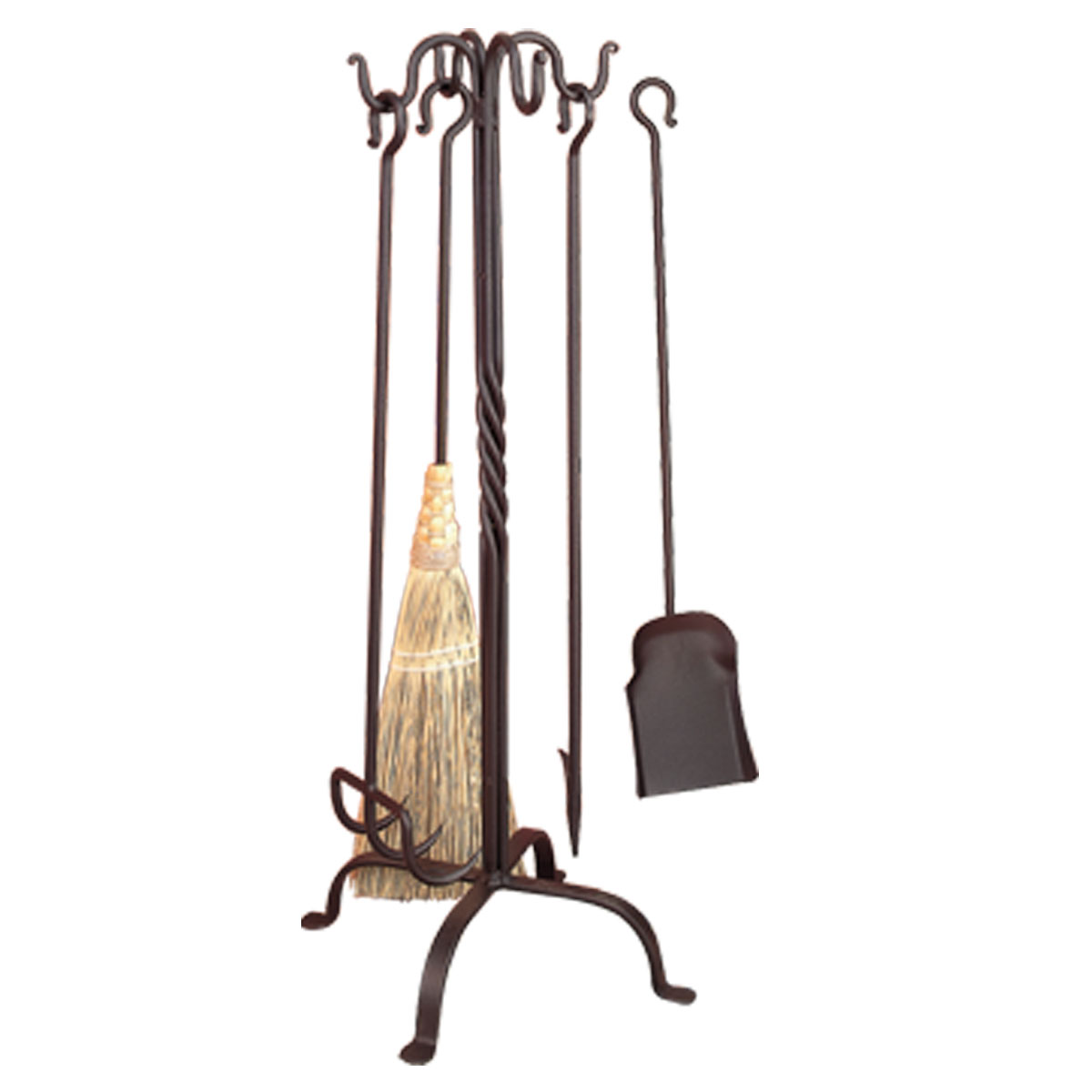 Wrought Iron Pigtail Fireplace Tool Set Deluxe