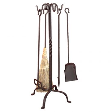 Wrought Iron Pigtail Fireplace Tool Set | Deluxe