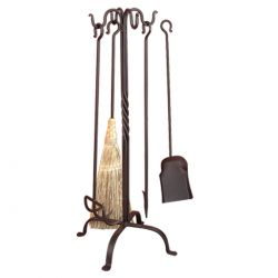 Pigtail Fireplace Tool Set | Deluxe